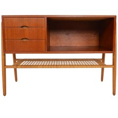 Danish Modern Teak and Oak Entry Chest with Rack