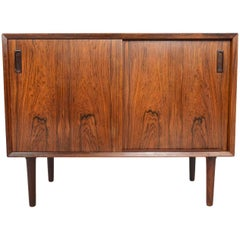 Danish Modern Small Rosewood Sliding Door Credenza by Lyby