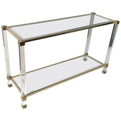 French Lucite and Brass Console by Pierre Vandel