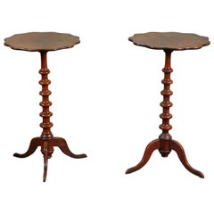 Pair of 19th Century Swedish Walnut Turned Side Tables