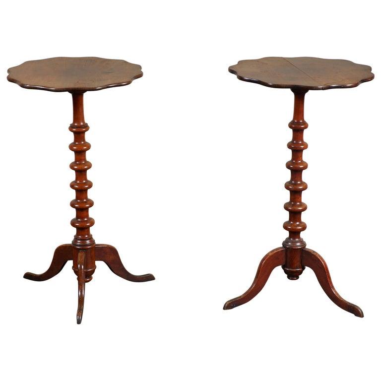 Pair of 19th Century Swedish Walnut Turned Side Tables