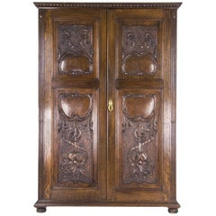 Antique Armoire Heavily Carved Tiger Oak Scotland, 1890