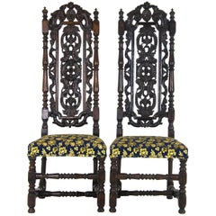 Antique Carved Chairs, Carolean, Upholstered, High Back, Scotland, 1870 REDUCED!