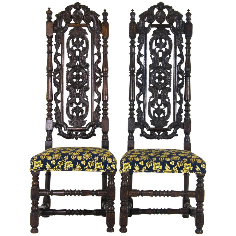 Antique Carved Chairs Carolean Style Upholstered High Back Scotland 1870 1