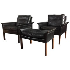 Pair of Hans Olsen Leather Lounge Chairs, Denmark, 1960
