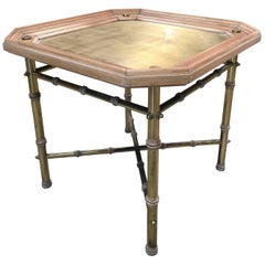 Italian Coffee table or Side Table in Brass and Wood