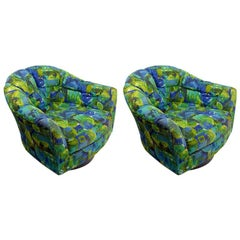 Pair of Swivel Chairs by Selig Attributed to Milo Baughman