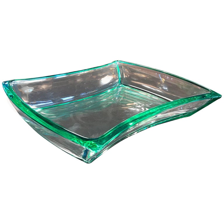 Fontana Arte Aquamarine Glass Bowl For Sale