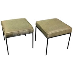 Pair of Paul McCobb Iron Square Benches