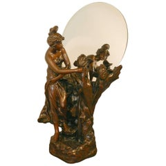 Important Art Nouveau Illuminated Electroplating Sculpture with Mirror