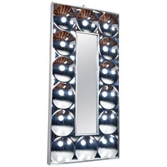 Verner Panton Style Silvered Acrylic Bubble Mirror in Chrome Frame, 1970s