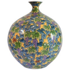 Japanese Large Hand-Painted Contemporary Porcelain Vase by Master Artist, Yellow