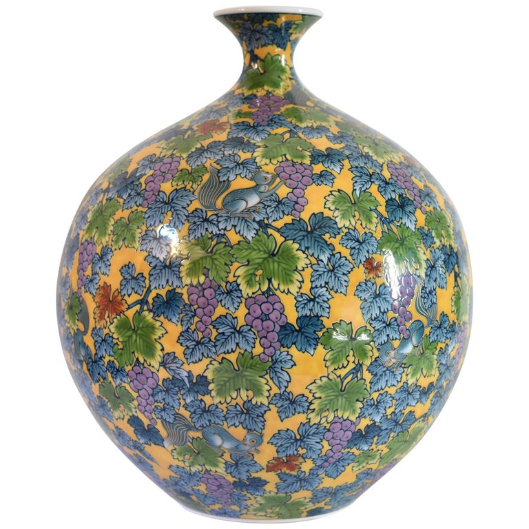 Japanese Hand-Painted Contemporary Decorative Porcelain Vase by Master Artist