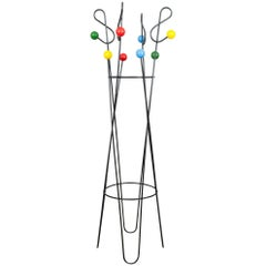 "1950s Tall French Roger Ferraud ""Musical Notes"" Iron Coat Umbrella Rack Stand"