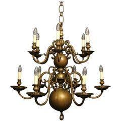 Flemish 19th Century Bronze Twelve-Light Candle Antique Chandelier
