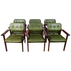 Danish 1960s Arne Vodder Rosewood and Green Leather Armchairs for Sibast Mobler