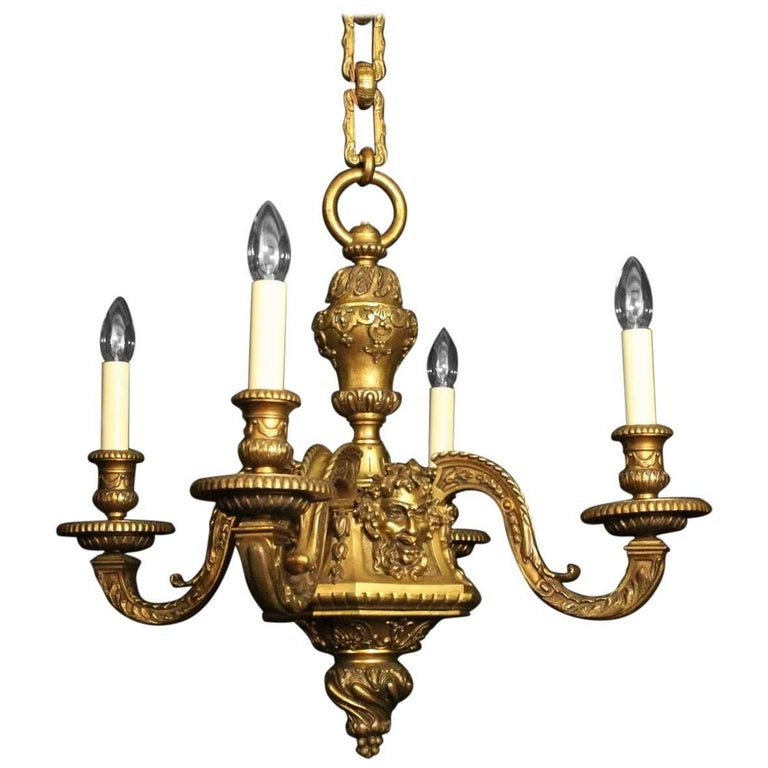French 19th Century Bronze Bacchic Four-Light Antique Chandelier