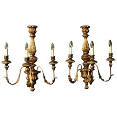 Florentine Large Triple-Arm Toleware and Giltwood Wall Lights