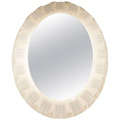 Large Midcentury German Illuminated Lucite Oval Wall Mirror