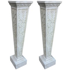 Pair of Art Nouveau Pedestals in Reconstituted Stone