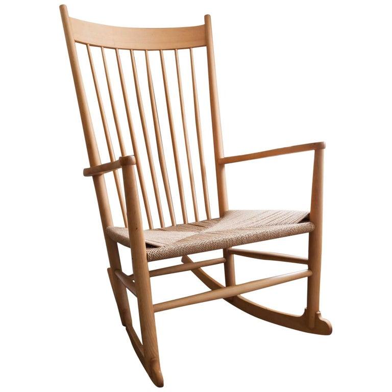 Danish J16 Beech Rocking Chair by Fredericia Designed by Hans J. Wegner