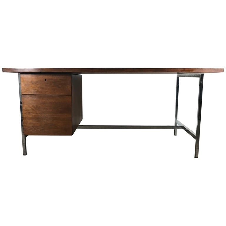 Classic Midcentury Walnut and Chrome Florence Knoll Desk Knoll