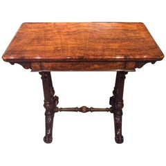 Fine Quality Burr Walnut Victorian Period Fold over Card Table