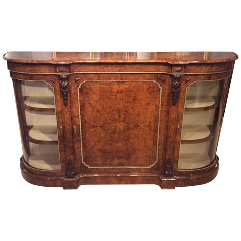 Stunning Quality Burr Walnut and Marquetry Inlaid Victorian Period Credenza