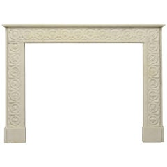 Amazing, White Marble Fireplace with Floral Guilloche Pattern Throughout