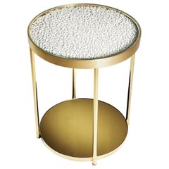 Contemporary Hemlock Side Table in Lacquer Paint White, Polished Brass and Gold