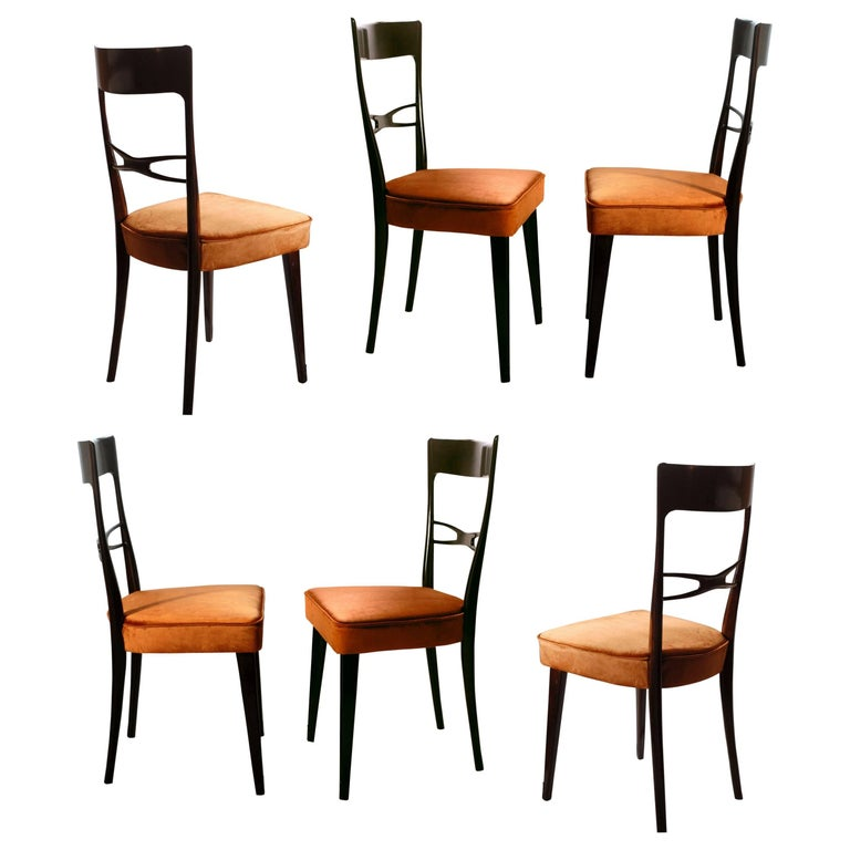 Melchiorre Bega, Six Sculptural Dining Chairs, Glossy Finish, Velvet