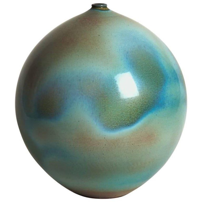 Large Ceramic Blue Green Vase by Suzanne Ramie, Madoura, 1950s