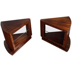 Unique Pair of Art Deco Coffee or Bedside Tables with Beveled Glass Tops
