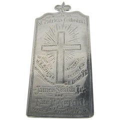 Antique 1874 St Patrick's Cathedral Sterling Silver Marriage Plaque