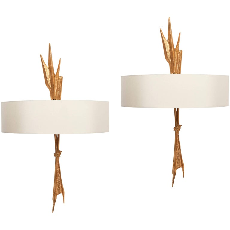 """Pair of Wall Sconces """"Amour Ardent"""" by Félix Agostini, circa 1957"""
