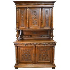 19th Century French Renaissance-Style Buffet a Deux Corps in Walnut