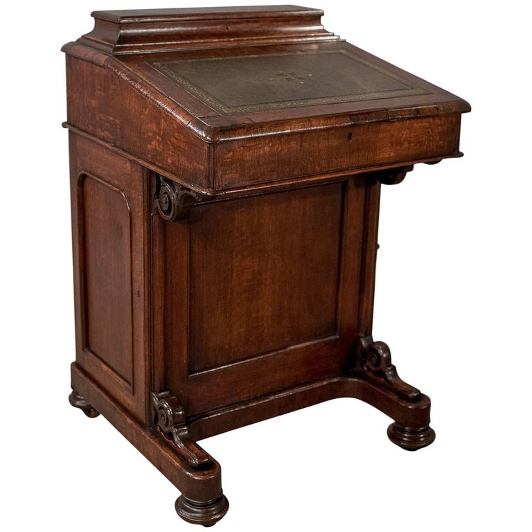 Victorian Antique Davenport, English Oak Writing Desk, Bureau, circa 1870  For Sale - Victorian Antique Davenport, English Oak Writing Desk, Bureau, Circa