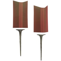 "Pair of Wall Sconces ""Squale"" by Félix Agostini, circa 1962"