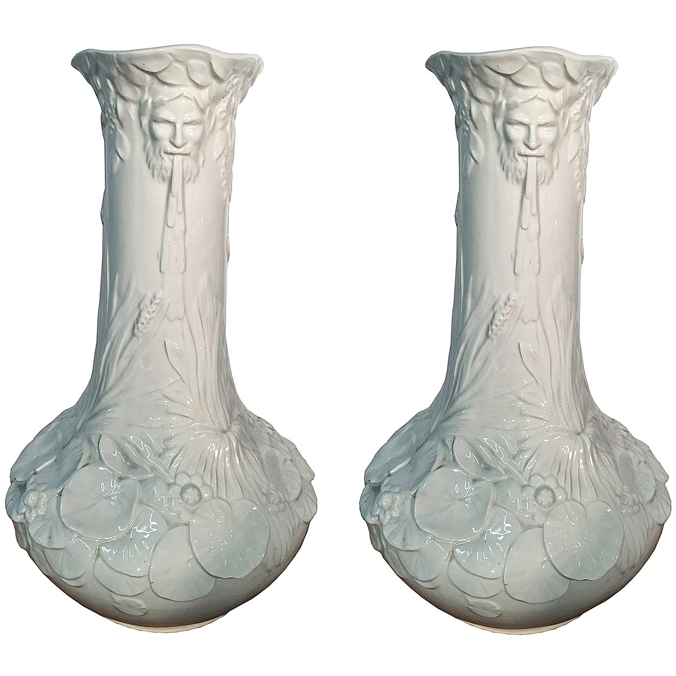 Pair of High Art Nouveau Ceramic Vases, Italy, circa 1950