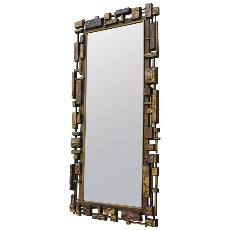 Mid-Century Modern Syroco Brutalist Wall Mirror