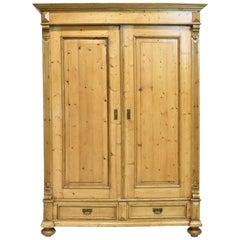 19th Century European Two-Door Armoire in Pine with Drawers & Interior Shelves