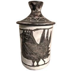 Ceramic Box with Stylized Bird by Jacques Pouchain Atelier Dieulefit, 1960s