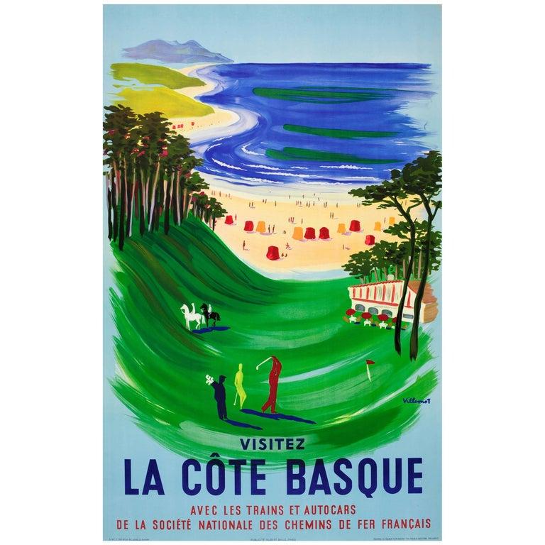 Original Vintage SNCF Railway Travel Poster by Villemot - Visit The Basque Coast For Sale