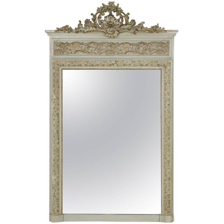 19th Century Napoleon III Period Hand-Carved and Painted Louis XV Style Mirror