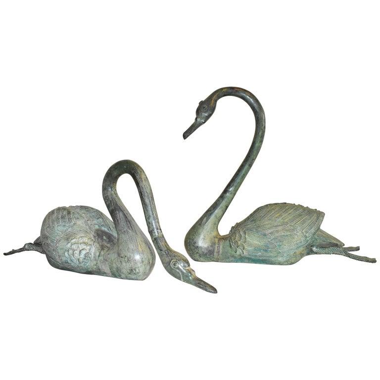 Modern Bronze Lifesize Pair of Swan Sculptures for Indoor or Outdoor/Garden Use