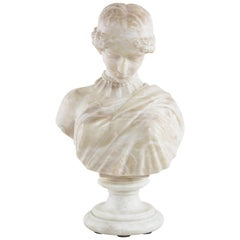 Early 20th Century French Solid Marble Bust of a Classic Greek Female Figure