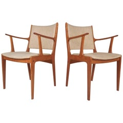Beautiful Pair of Mid-Century Modern Danish Teak Arm Dining Chairs