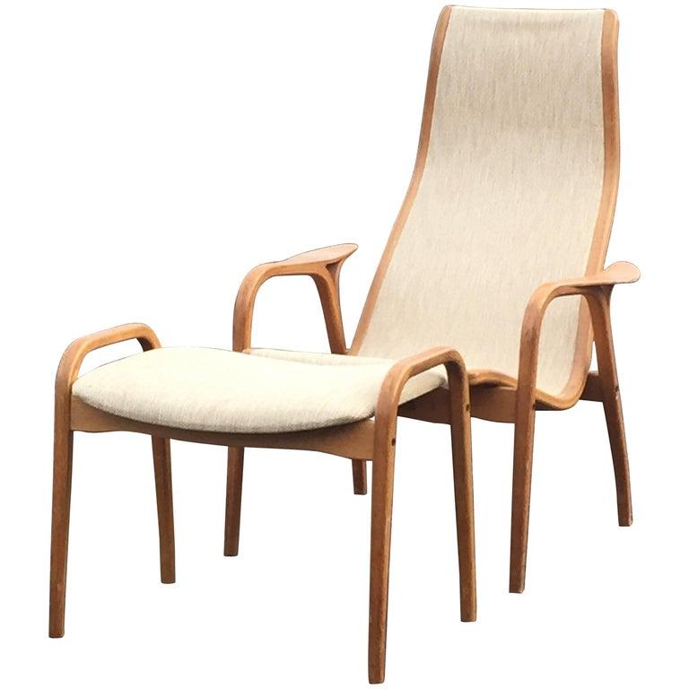 Sleek Swedish Designer Lamino Lounge Chair and Ottoman