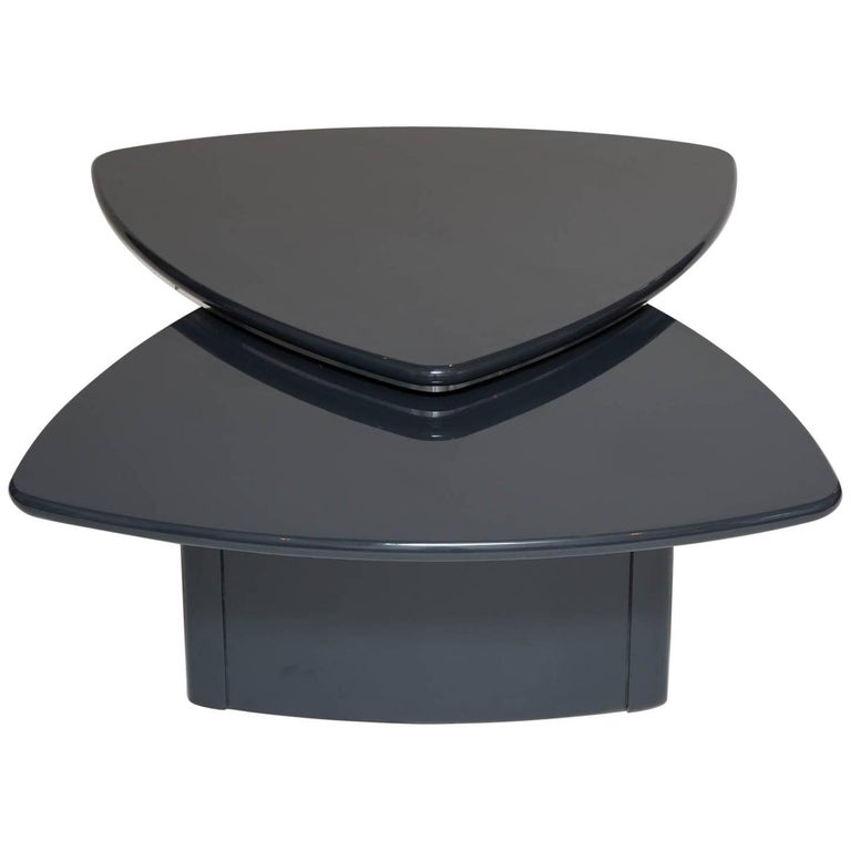 Modern Swivel Top Coffee Table In Grey Lacquer For Sale At 1stdibs