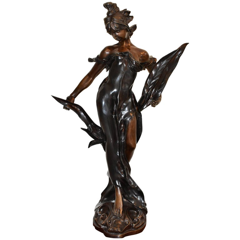art nouveau large bronze sculpture female lady figure and. Black Bedroom Furniture Sets. Home Design Ideas